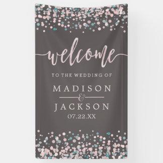 Erröten rosa Aquarellconfetti-Hochzeits-Willkommen Banner