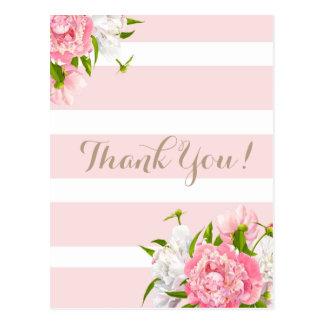 Erröten rosa Blumen Peonie danken Ihnen Postkarten