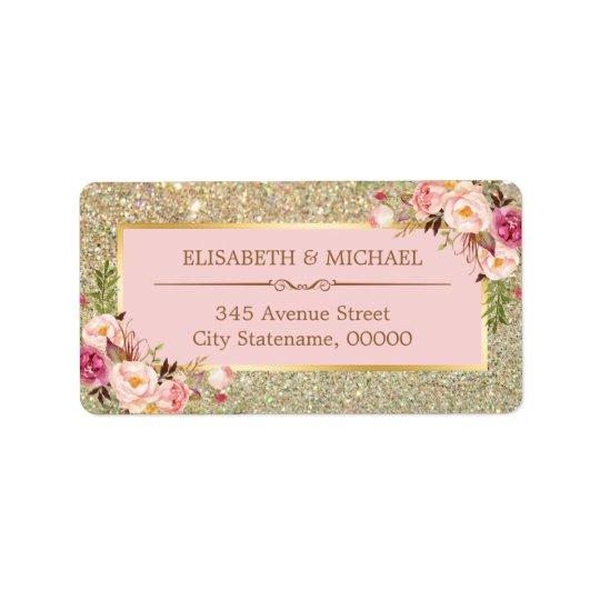 Erröten rosa BlumengoldGlitter-funkelnde Hochzeit Adressetiketten