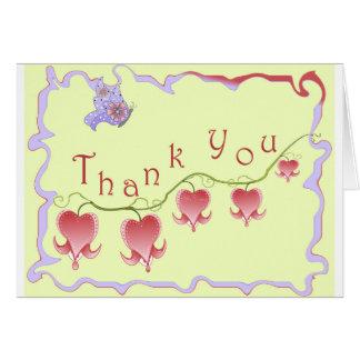 Erröten rosa blutendes Herz danken Ihnen zu Karte