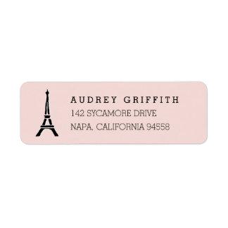Erröten rosa Eiffel-Turm-Rücksendeadresse