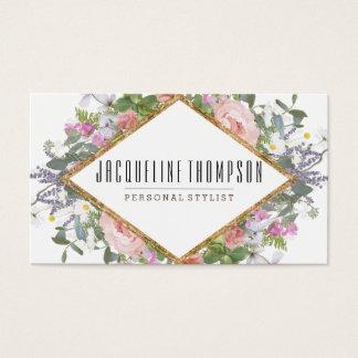 Erröten rosa Goldmoderne geometrische BlumenBlumen Visitenkarte