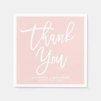 Erröten rosa Hand beschriftetes Skript danken Serviette