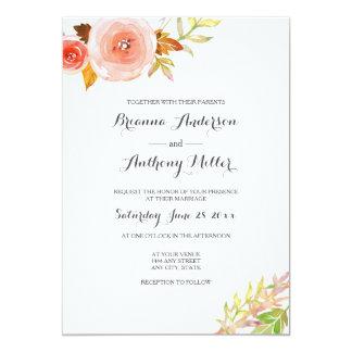 Erröten rosa korallenrotes Aquarell Wedding 12,7 X 17,8 Cm Einladungskarte