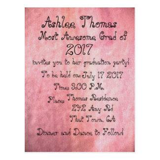 Erröten rosa kundenspezifische Abschluss-Party Postkarte