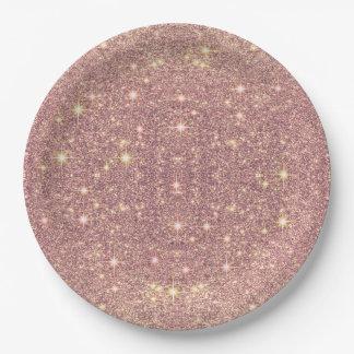 Erröten rosa Rosen-GoldImitat-Schein Pappteller
