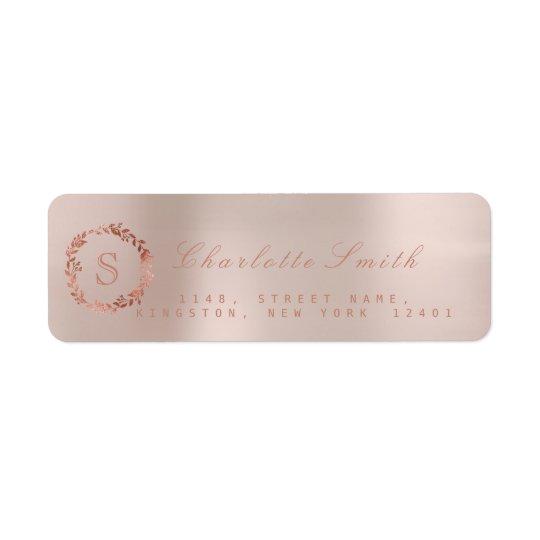 Erröten rosa Rosen-GoldWreath VIP-Monogramm UAWG Rücksendeetikett