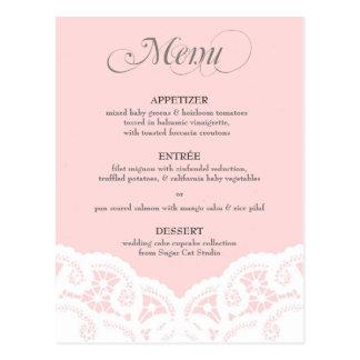 Erröten rosa Spitzedoily-Hochzeits-Menü Postkarte