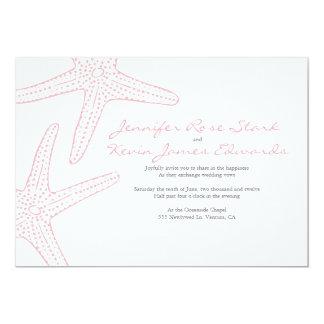 Erröten rosa Starfish, die Hochzeit einladen 12,7 X 17,8 Cm Einladungskarte
