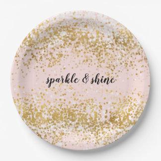 Erröten rosa weißes Goldconfetti-Schein Pappteller