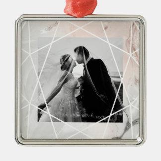 Erröten und grauer Marmor mit Foto geometrisches | Quadratisches Silberfarbenes Ornament