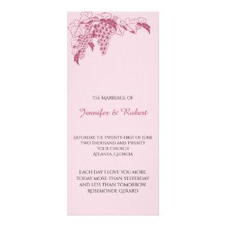 Erröten Weinstock-Hochzeits-Programm Bedruckte Werbekarten