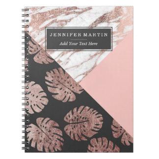 Errötet rosa Rosen-Goldmarmor-Schweizer Spiral Notizbücher