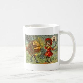 Erschrockene Kindereulen-Vollmond-Jack O Laterne Kaffeetasse