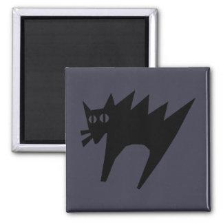 Erschrockener schwarze Katzen-Halloween-Magnet Quadratischer Magnet