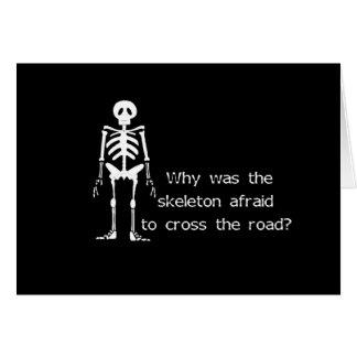 Erschrockenes Skelett Grußkarte