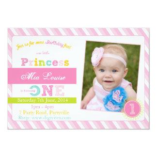 Erste Geburtstags-Einladung, Foto-Geburtstag laden 12,7 X 17,8 Cm Einladungskarte