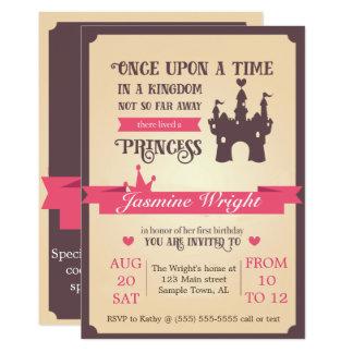 Erste Geburtstags-Einladung Prinzessin-Märchen 12,7 X 17,8 Cm Einladungskarte