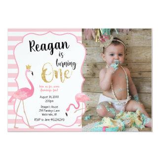 Erste Geburtstags-Flamingo-Foto-Einladung Karte