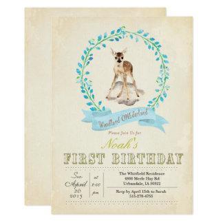 Erste Geburtstags-Jungen-Rotwild-Einladung 12,7 X 17,8 Cm Einladungskarte