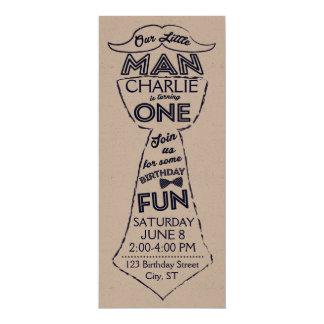 Erste Geburtstags-Krawatten-/Schnurrbart-Einladung 10,2 X 23,5 Cm Einladungskarte