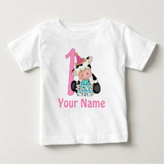 Erste Geburtstags-Mädchen-Rosa-Kuh Baby T-shirt