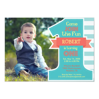 Erste Geburtstags-Party-blauer Jungen-Einladung 12,7 X 17,8 Cm Einladungskarte