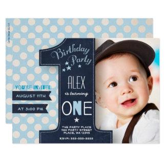 Erste Geburtstags-Party Einladungs-Jungen-Tafel Karte