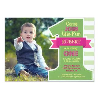 Erste Geburtstags-Party-Grün-Jungen-Einladung 12,7 X 17,8 Cm Einladungskarte