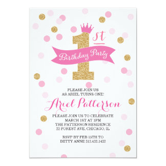 Erste Geburtstags-Prinzessin des 12,7 X 17,8 Cm Einladungskarte