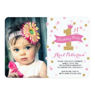 Erste Geburtstags-Prinzessin Foto des 12,7 X 17,8 Cm Einladungskarte