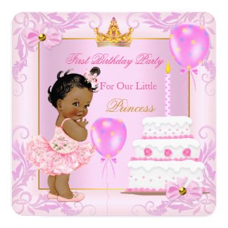 Erste Geburtstags-Prinzessin Tiara Girl Pink Quadratische 13,3 Cm Einladungskarte