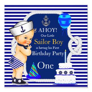 Erste Geburtstags-Seemann-Jungen-Marine-blauer Quadratische 13,3 Cm Einladungskarte