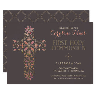 Erste heilige Kommunions-Einladung, Goldkreuz 11,4 X 15,9 Cm Einladungskarte