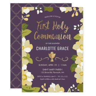 Erste heilige Kommunions-Einladung, mit Blumen mit 11,4 X 15,9 Cm Einladungskarte