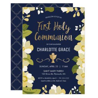 Erste heilige Kommunions-Einladung, mit Blumen mit 12,7 X 17,8 Cm Einladungskarte