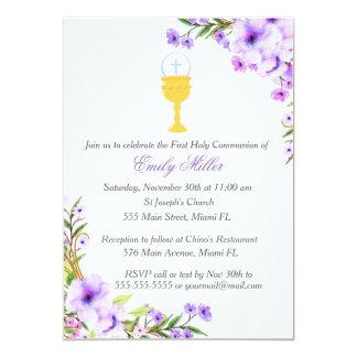 Erste heilige Kommunions-Einladungs-Blumenlavendel Karte
