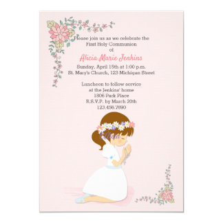 Erste Kommunions-brünette Mädchen-Rosa-Einladung Karte