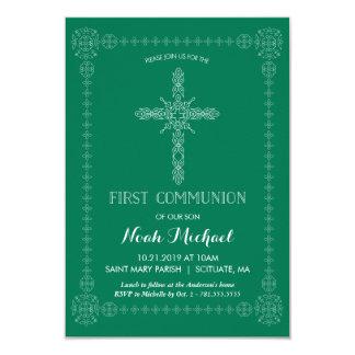 Erste Kommunions-Einladung, grün mit elegantem 8,9 X 12,7 Cm Einladungskarte