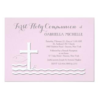 Erste Kommunions-rosa Einladung