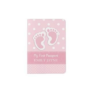 Erste Pass-Baby-Abdruck-rosa Gewohnheit Passhülle