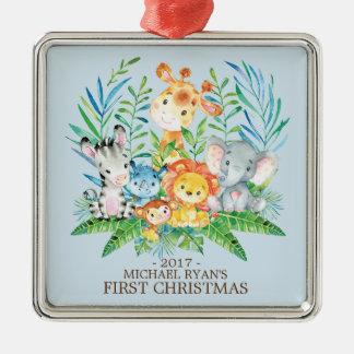 Erste Verzierung des Dschungel-Tier-Babys Silbernes Ornament