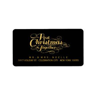 Erste Weihnachtszusammen Adressaufkleber