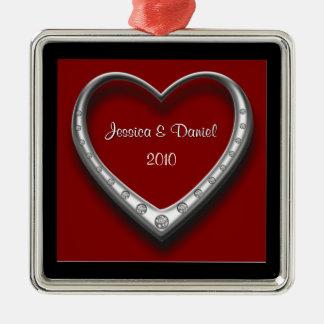 Erste Weihnachtszusammen Weihnachtsverzierung Quadratisches Silberfarbenes Ornament