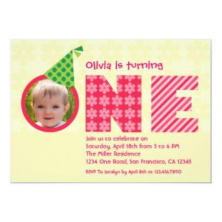 """Erster Geburtstag """"eine"""" Foto-Einladung 12,7 X 17,8 Cm Einladungskarte"""