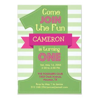 Erster Geburtstags-grüne Jungen-und Mädchen-Party 12,7 X 17,8 Cm Einladungskarte