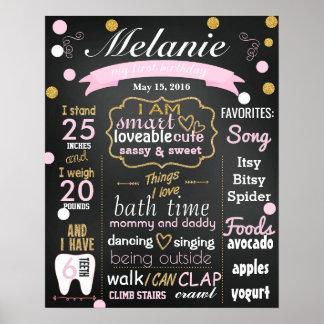 Erster Geburtstags-Tafelzeichen Confetti Poster
