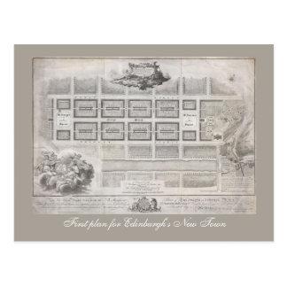 Erster Plan der neuen Stadt, Edinburgh Postkarte