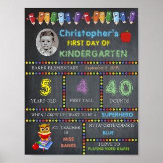 Erster Tag von Kindergarten-Zeichen FOTO, Tafel Poster
