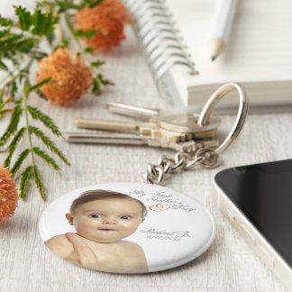 Erster Vatertags-Knopf Keychain - fertigen Sie ihn Standard Runder Schlüsselanhänger